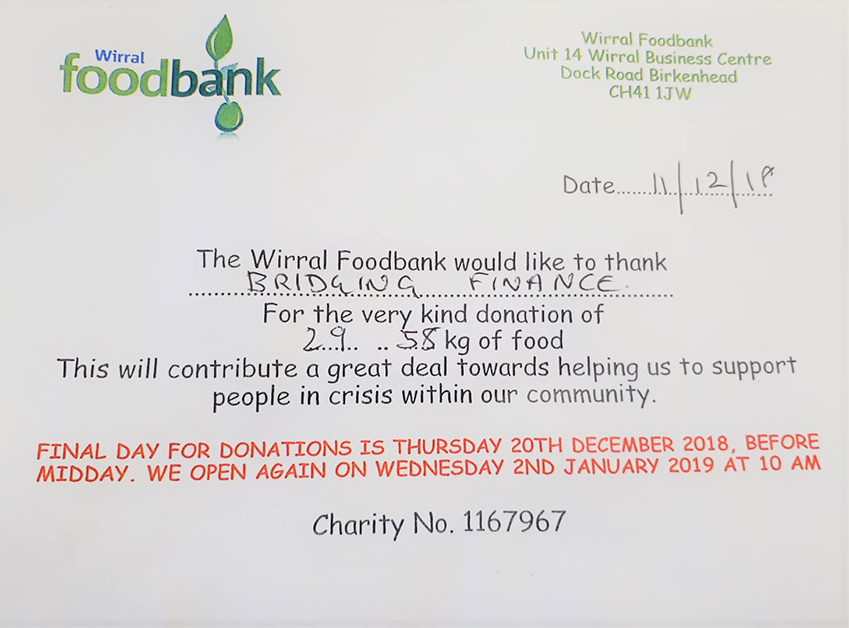 Wirral Foodbank would like to thank Bridging Finance